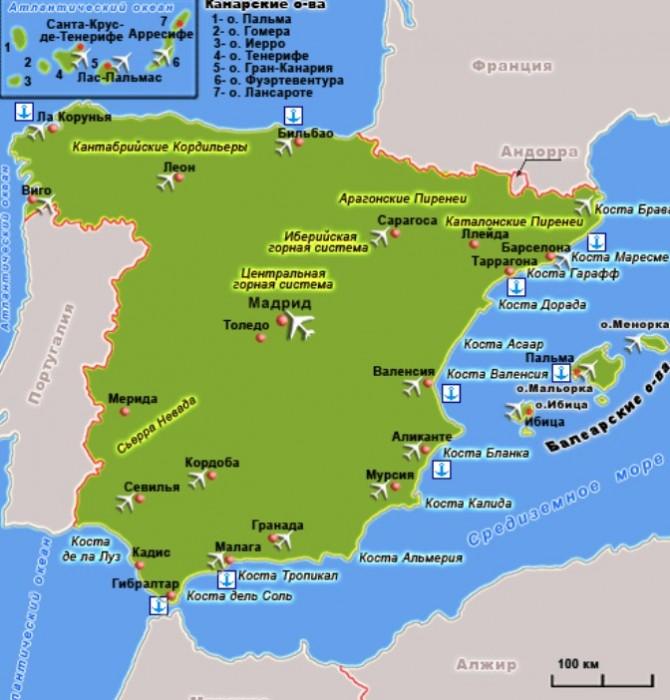 Karta-Ispanii-s-kurortami