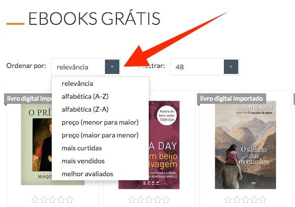 ebooks gratuitos na Livraria Cultura - opções