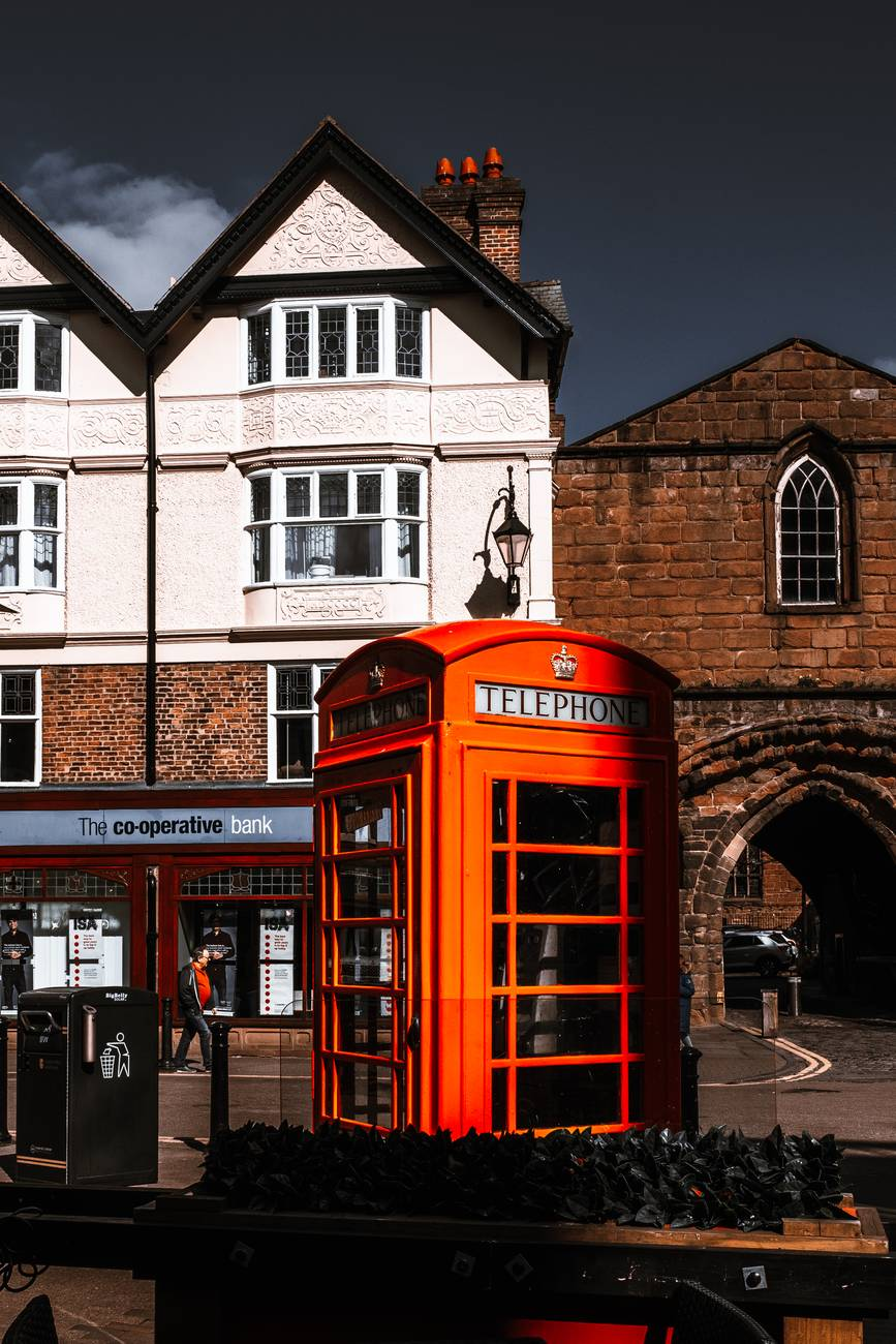 orange telephone booth