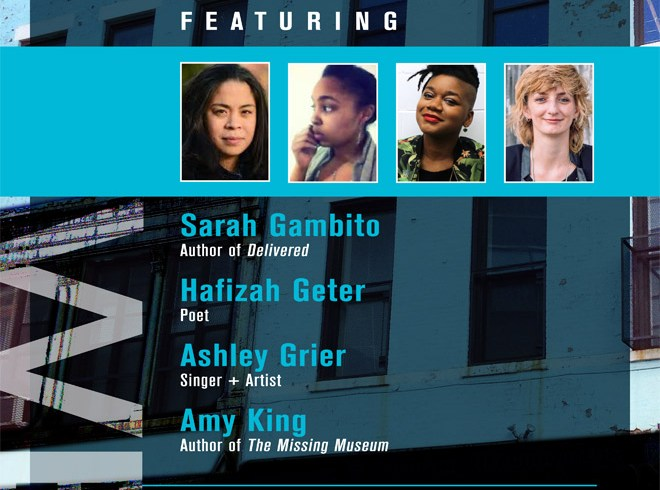 FPP and VIDA present: First Person Plural Reading Series featuring Sarah Gambito, Hafizah Geter, Ashley Grier, & Amy King.