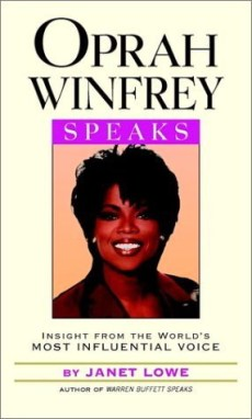 Cover for the book Oprah Winfrey Speaks, featuring a head and shoulder photo of Ms. Winfrey, an African American woman with short dark hair with bangs, smiling wearing a brown top.