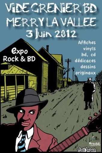 Affiche exposition Vide Grenier BD 2012 - Illustration Alain Boudaia