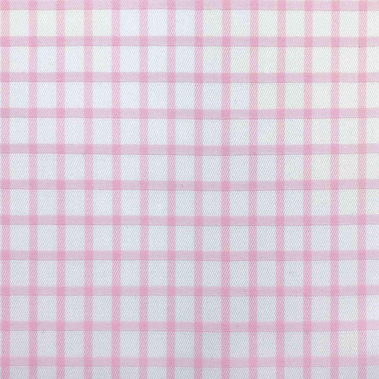 chemise sur mesure twill blanc carreaux rose