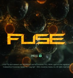 title screen of the game fuse on microsoft xbox 360 [ 1152 x 704 Pixel ]