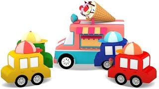 4 voitures colorees nettoyage du parc