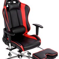 Merax Big and Tall Back Erogonomic Racing Style Computer Gaming Office Chair Adjustable Chair -Black/red