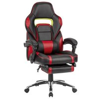 LANGRIA High Back Racing Style Faux Leather Executive Computer Gaming Office Chair, Well Padded Footrest and Lumbar Cushion, Ergonomic Reclining Design, Adjustable Height, Black and Red