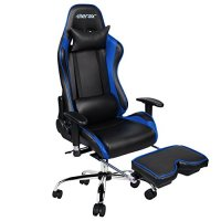 Merax Ergonomic Racing Gaming Chair with Adjustable Armrests High-Back PU Leather Chair with Footrest Home Office Chair (Blue)