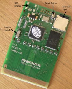 Turbo Everdrive flash cartridge. Click the picture for a bigger view.
