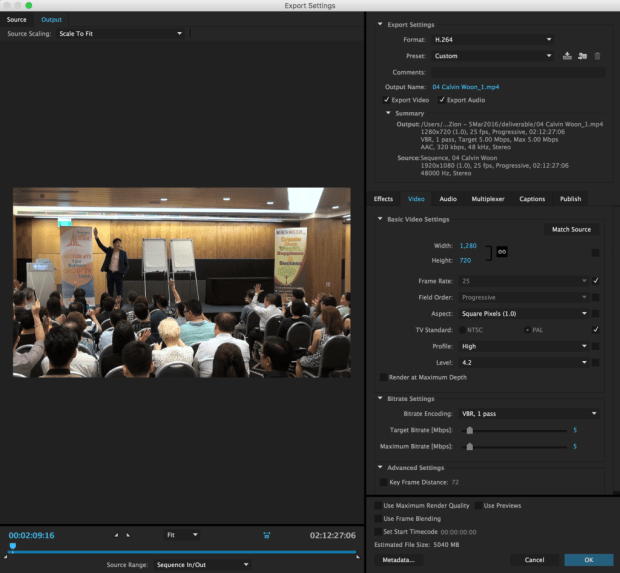 Premiere Pro Export Settings for Long Videos