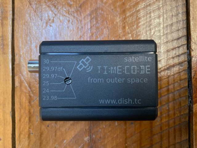 The Dish Pro Time Code box has a Frame Rate Selector and a BNC Output