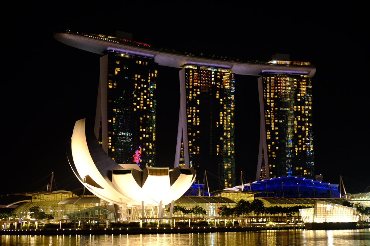 Videonauts Singapur Marina Bay Sands at night