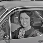 Lady in 1960 car