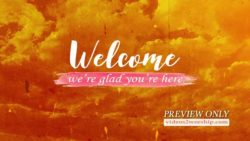 Welcome Text Over Grunge Clouds