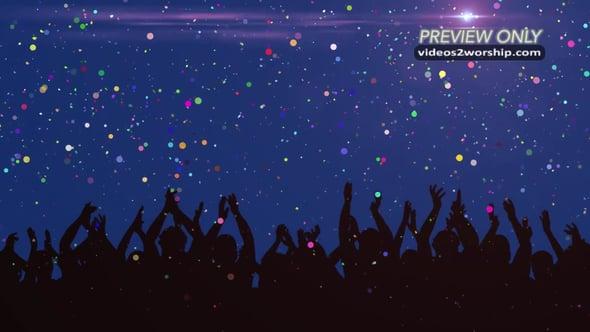 Celebration Crowd And Falling Confetti
