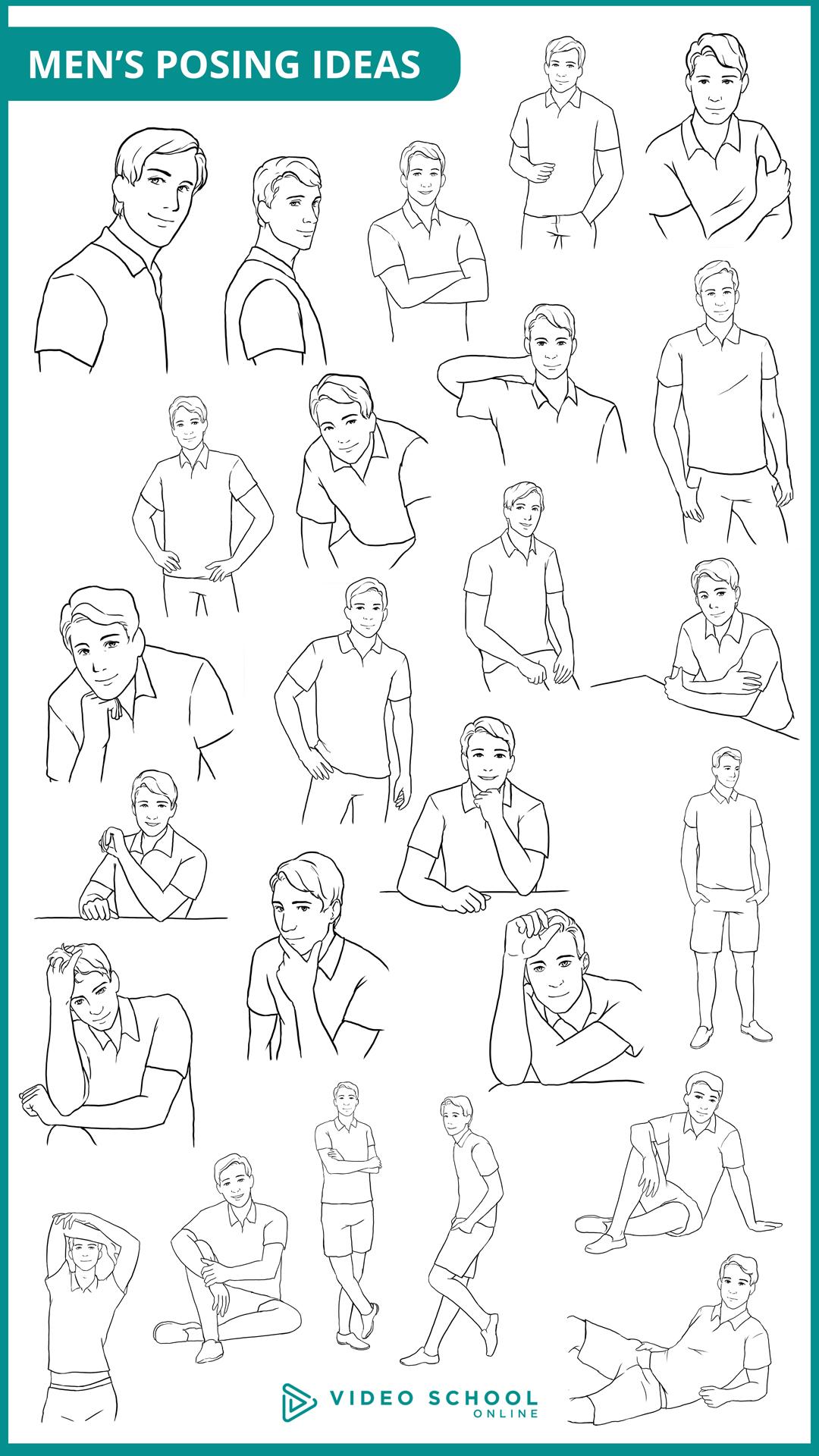 posing men 25 sample poses for men video school online rh videoschoolonline com Senior Posing Guides Pose Ideas