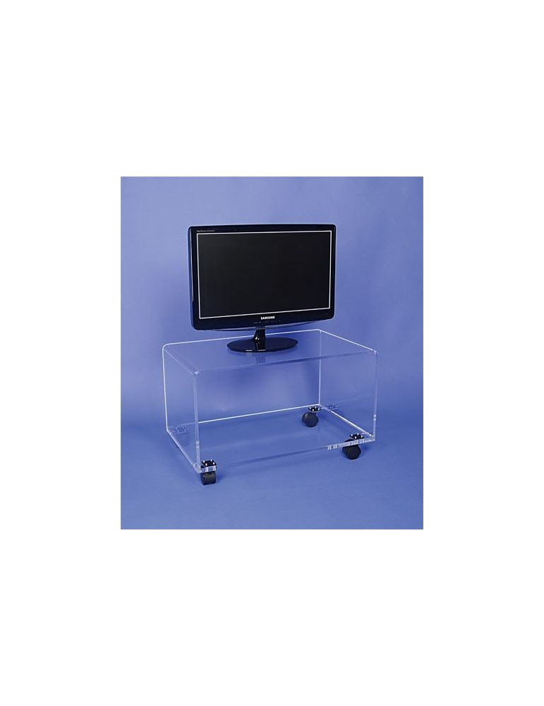 table tv plexiglas sur roulettes 60x40 haut 40cm ref flxttv40 145 00 flxttv40 meubles tv hifi transparents