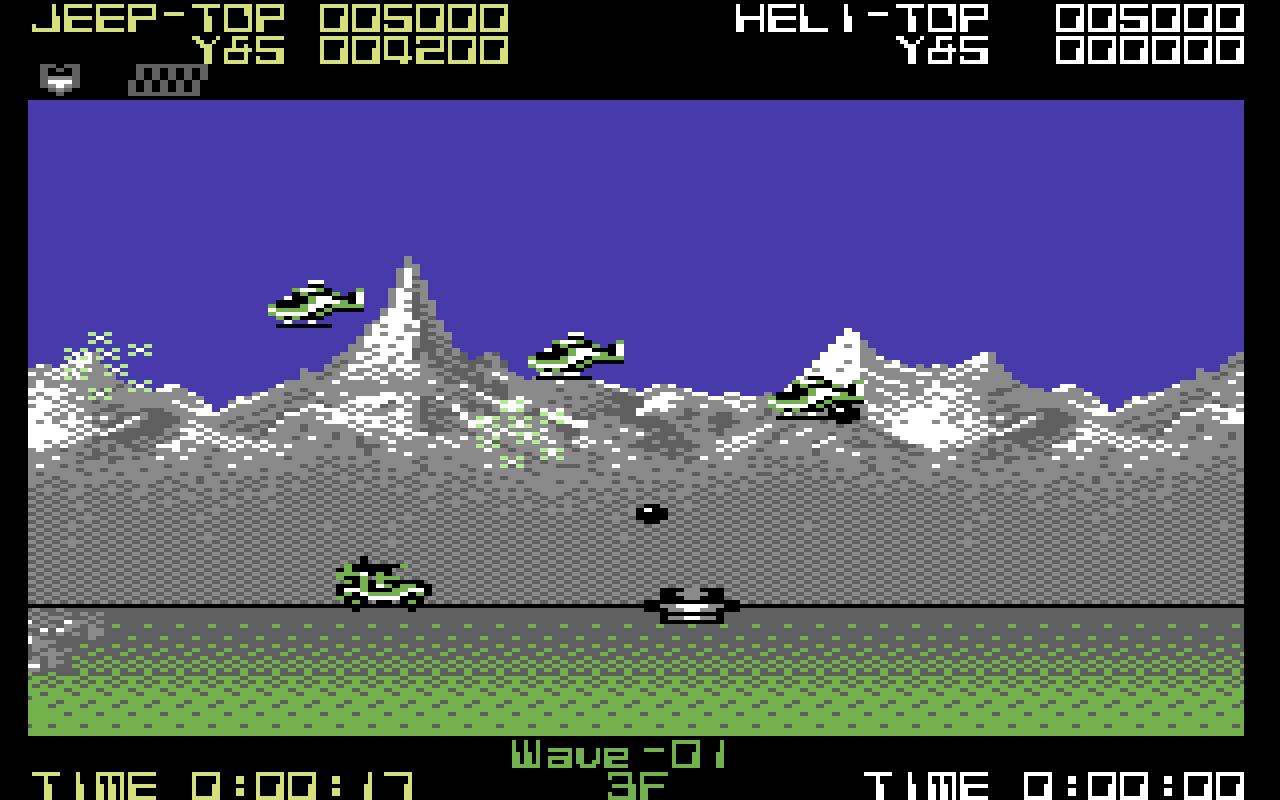 Oben im Bild ist die C64-Version, unten die des Amiga. Im direkten Vergleich sieht die Amiga-Version deutlich besser aus. Beide Screenshots zeigen Level 1. (Bild: Tecmo, Sammy)