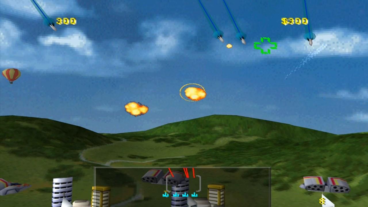 Missile Command auf der PlayStation 1. Raketen im Anflug auf die Erde. (Bild: Atari)