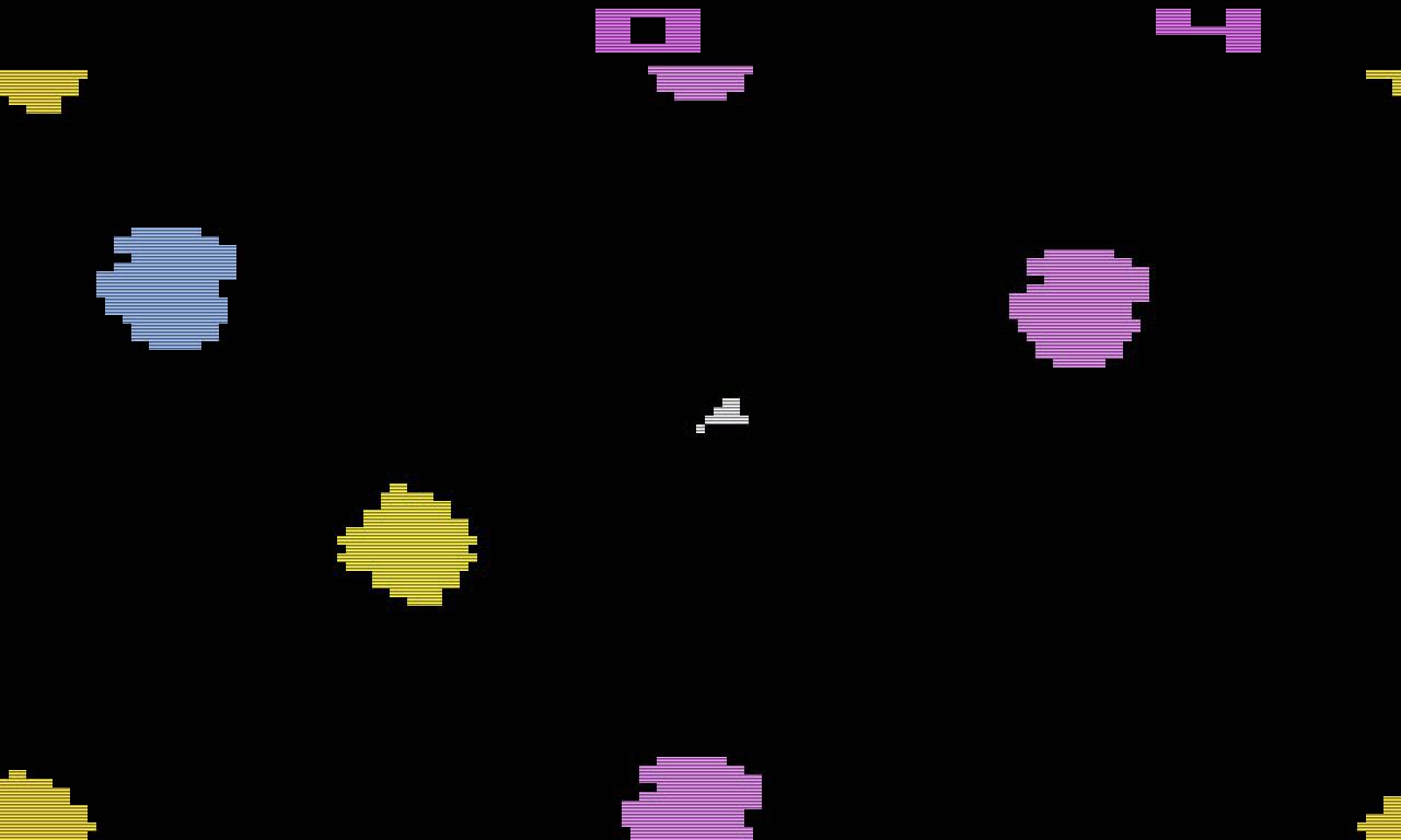 Asteroids auf dem VCS. Schau Dir das Spiel einmal persönlich an, damit Du auch das wunderschöne Flimmern siehst! (Bild: Atari)