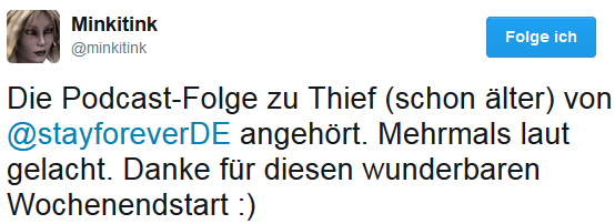 Moni Eichiner via Twitter zur SF-Podcast-Folge Thief