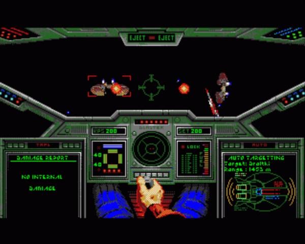 Wing Commander war auch auf dem Amiga ein schönes aber farblich unerklärbar blasses Spiel, das jedoch ohne Turbokarte Slideshow-Charakter hatte und die Spieleredaktionen spaltete: Ist es nun schlecht oder doch gut? (Bild: Andreas Wanda)