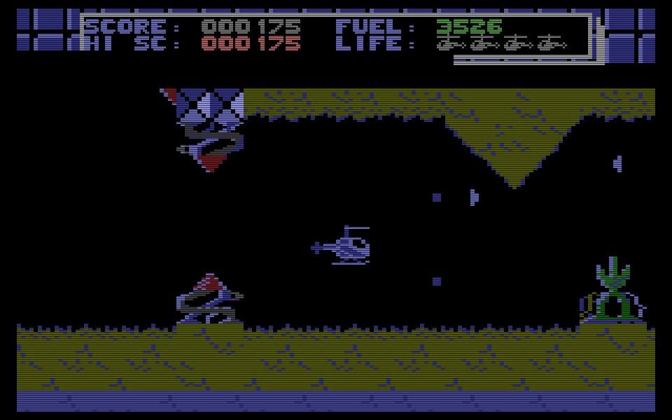 In Fortress Underground von Jörg Dierks aus 1987 muss man mit einem Hubschrauber ein unterirdisches Höhlensystem durchqueren, um das Kraftwerk des Feindes zu zerstören. (Bild: Kingsoft)