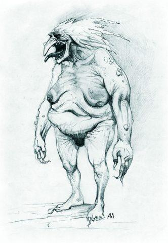 Ganz schön hässlich: Eine Konzeptzeichnung des Verschlingers. (Bild: http://witcher.wikia.com/wiki/File:Devourer2.jpg)