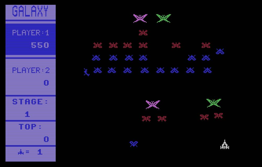Galaxy von Henrik Wening für den Commodore 64 von 1984, kommt dem berühmten Weltraum-Automatenspiel Galaga von Namco sehr nahe. (Bild: Kingsoft)