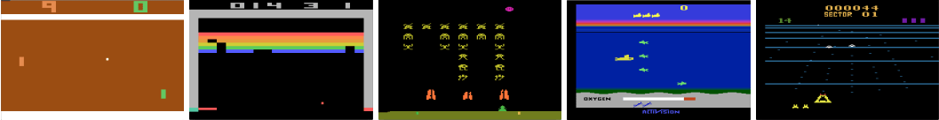 Screen shots from five Atari 2600 Games: (Left-to-right) Pong, Breakout, Space Invaders, Seaquest, Beam Rider. (Bild DeepMind)