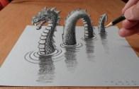 Drawing A 3D Loch Ness Monster, Trick Art