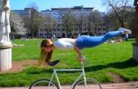 Lady Performs Amazing Freestyle Stunts On Bicycle
