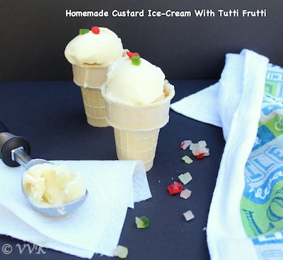 Homemade Custard Ice-Cream with Tutti Frutti