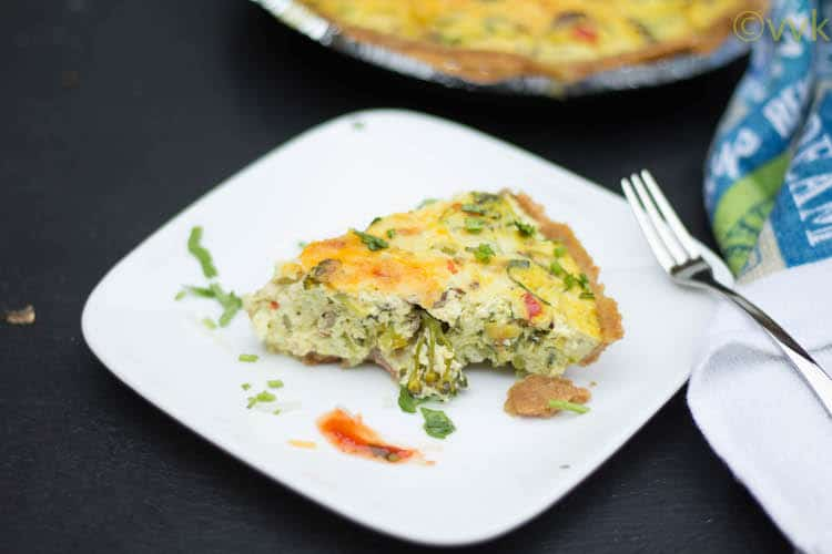 Eggless Mixed Vegetable Tofu Quiche
