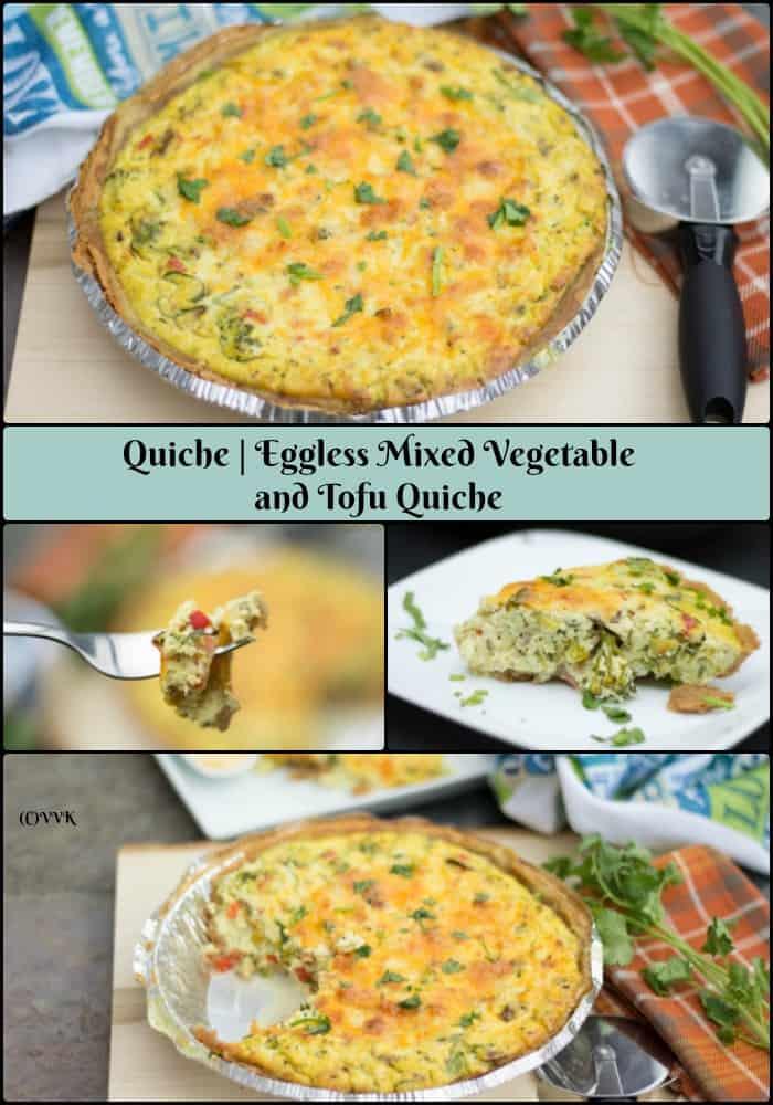 Eggless Mixed Vegetable Tofu Quiche