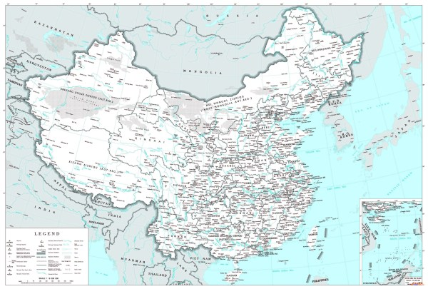 Large political and administrative map of China with