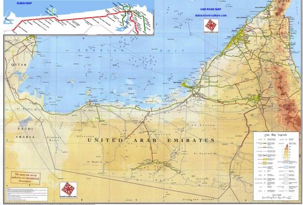 Detail UAE Road Map for Travelers UAE Dubai Metro City