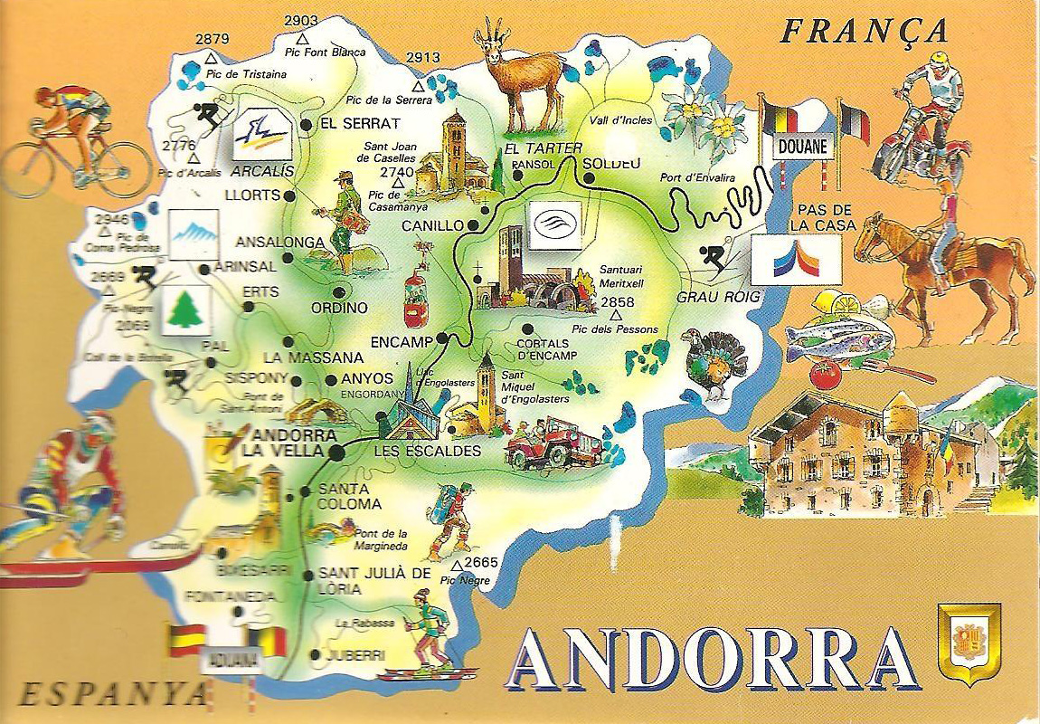 Large Detailed Andorra Tourist Map Andorra Large Detailed
