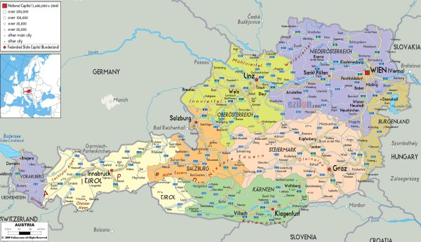 Large detailed political and administrative map of Austria