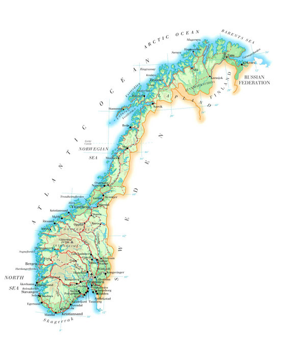Large detailed physical map of Norway with roads cities