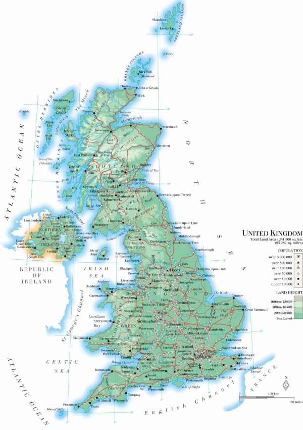 Large detailed physical map of United Kingdom with roads cities and airports Vidianicom