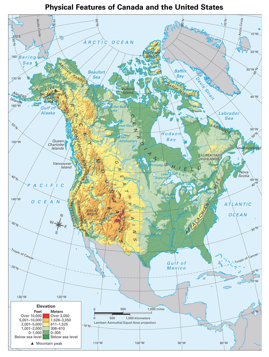 Large Detailed Physical Map Of North America North