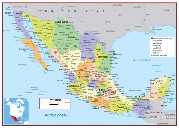 Detailed Mexico Map