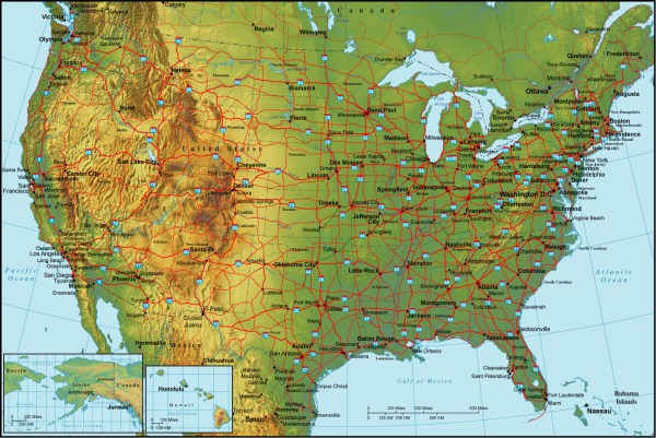 Detailed topographical map of the USA The USA detailed