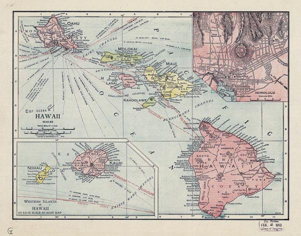 Large old administrative map of Hawaii 1912 Hawaii