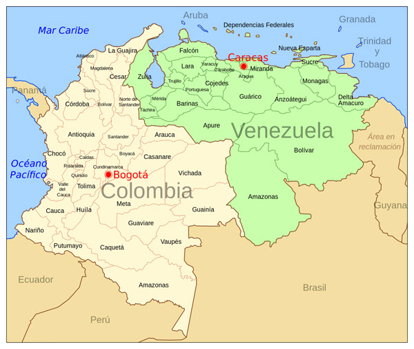 Large political map of Colombia and Venezuela with