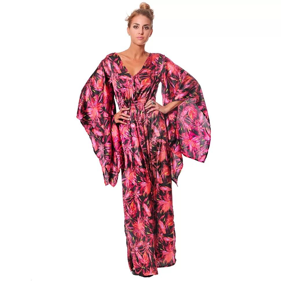 Vestido Largo con Mangas de Kimono en Satín - Vidissima