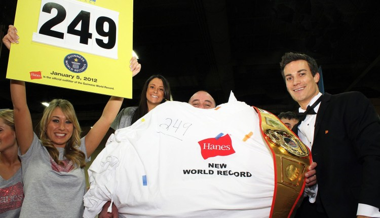 155 T-Shirts Worn at Once (World Record)