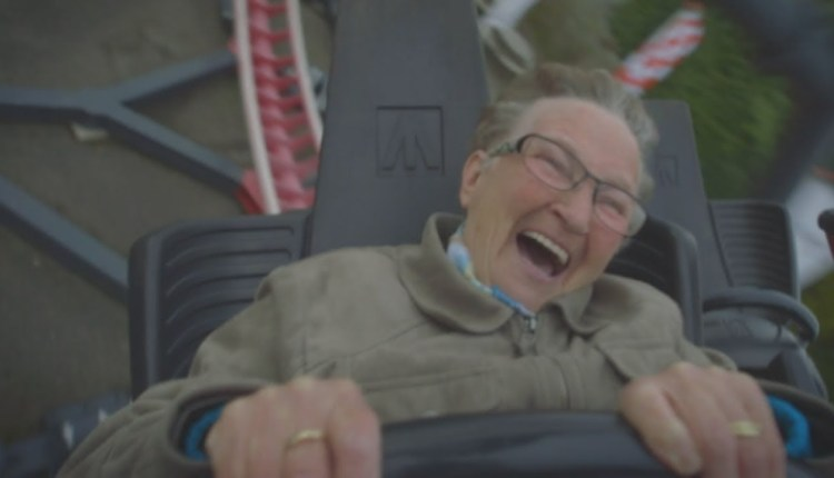 Granny On A Rollercoaster For The First Time