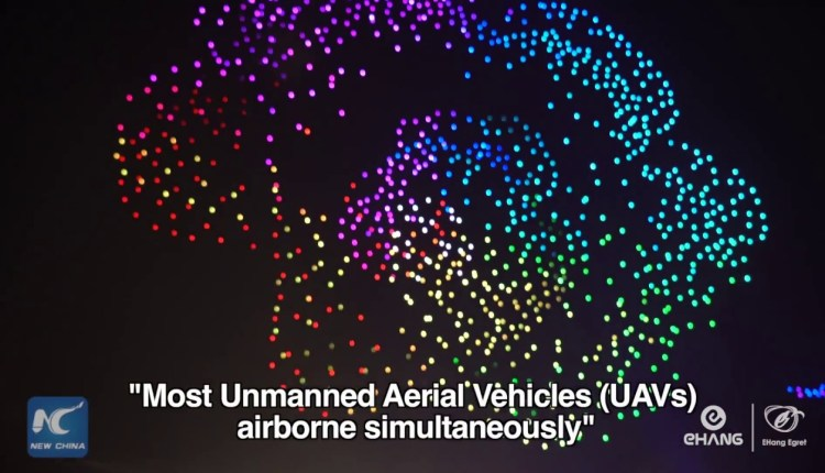 1374 Drones Light Up The Night Sky In China